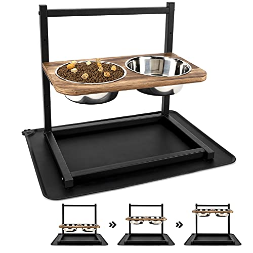 Emfogo Dog Cat Bowls Raised Dog Bowl Stand Feeder Adjustable Elevated 3 Heights5in 9in 13in with Stainless Steel Food and Water Bowls for Small to Large Dogs and Cats 16.5x16 inch (Carbonized Black)