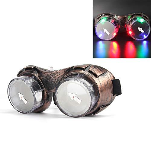 Led Brille, DAXIN Leuchtbrille Partybrille Steampunk Brille für Masquerade Party Nacht Pub Bar Klub Rave (Bronze)