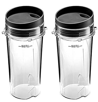 NutriGear Single Serve 16-Ounce Cups Compatible With Ninja Blender for BL770 BL780 BL660 Professional Blender (Pack of 2) by NutriGear