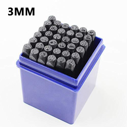 no logo 36pcs Alphabet Number Stamping Punch Steel Die Letter&Digital Punch Stamp Pressing Kit for DIY Metal Belt Leather Craft Tool (Size : 3mm)