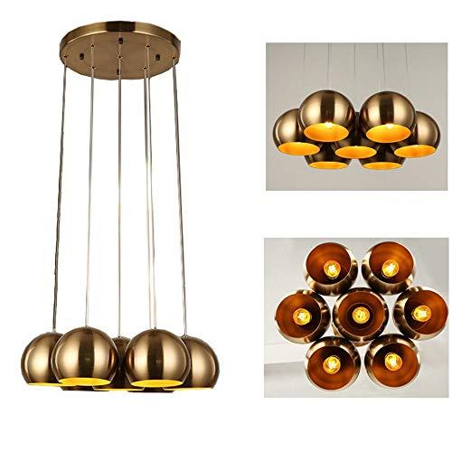 Hanger licht, hoge kwaliteit industriële retro hanglampen geborsteld brons lampenkap kroonluchter 5 koppen plafond lamp