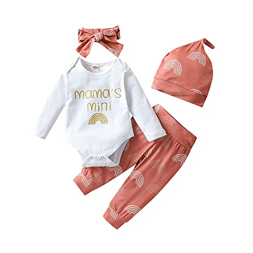 4PCS Newborn Baby Girl Rainbow Outfit Long Sleeve Letter Print Bodysuit +Pant +Hat+Headband Fall Clothes Set Pink 80 6-12 months