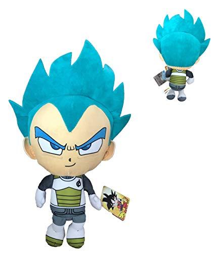DB Dragon Ball - Peluches Personajes Goku, Vegeta y Beerus de Dragon Ball Super - Calidad Super Soft (22cm, Vegeta Super Saiyan Dios)
