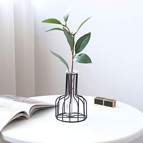 INFILM Metall-Tischplatte, große Luftpflanzenhalter, hydroponisches geometrisches Design, Schmiedeeisen, Blumen-Vase, Pflanzen-Regale, Topfpflanzen-Ständer Schwarz