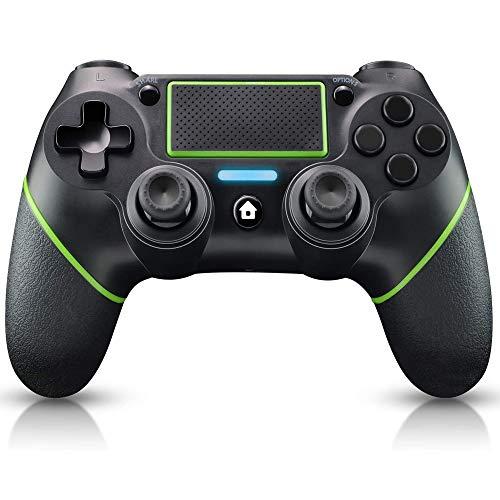 YUES Controller per PS4,DUALSHOCK 4 Wireless Controller per Playstation 4/Pro/Slim/3/PC e Laptop. Gamepad con Pannello Tattile a Doppia Vibrazione e Funzione Audio e Barra Luminosa, Verde.