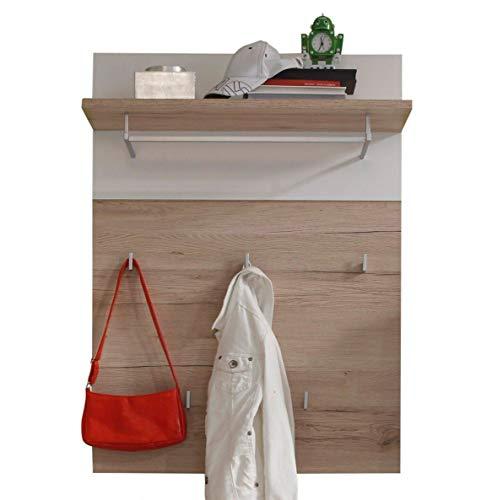 trendteam smart living Garderobe Gardrobenpaneel Campus, 80 x 109 x 30 cm in Eiche San Remo Hell Dekor, Absetzung Weiß mit Ablageboden und fünf Kleiderhaken