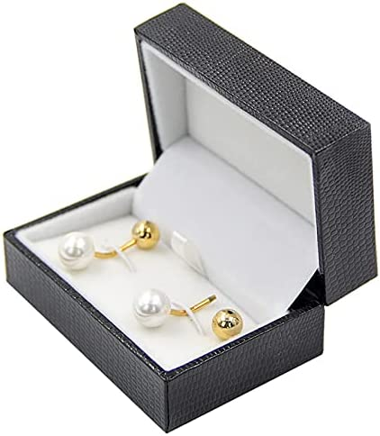 glusess Fashion Elegant Cufflinks for Men Round White Double Head Faux Pearl Detachable Cufflinks Men's Luxurious Tuxedo Formal Shirts Wedding Business Official Double Sided Cufflinks Gift Box