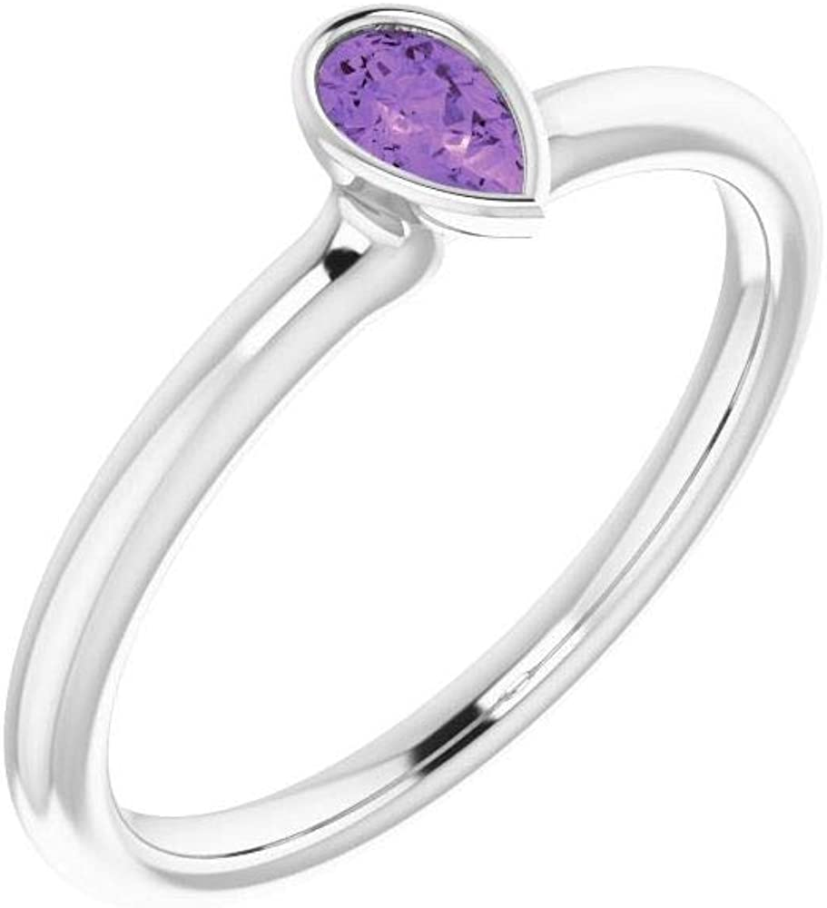 Solid 14k White Gold Solitaire Amethyst Stackable Wedding Anniversary Ring Band (Width = 4mm)