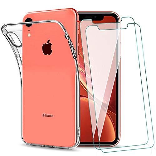 KEEPXYZ Funda para iPhone XR + 2 Pcs Protector de Pantalla para iPhone XR Cristal Templado, Flexible Suave Silicona Transparente TPU Antigolpes Carcasa + Vidrio Templado para iPhone XR