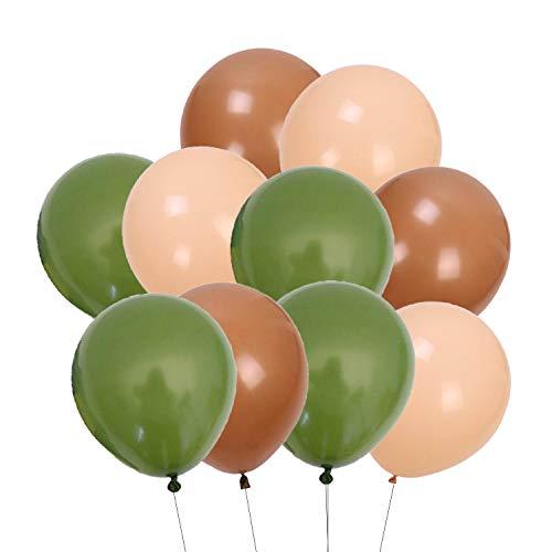 60 Pcs Olive Green Tan Brown Nude Cream Balloons Bouquet Garland Arch Kit Rustic Wedding Balloons for Eucalyptus Greenery Baby Shower Woodland Jungle Tropical Theme Birthday Party Decorations