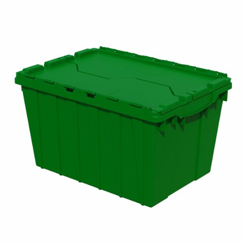 Akro-Mils 39120 Industrial Plastic Storage Tote with Hinged Attached Lid (21-Inch L by 15-Inch W by 12-Inch H) - Green (6-Pack)