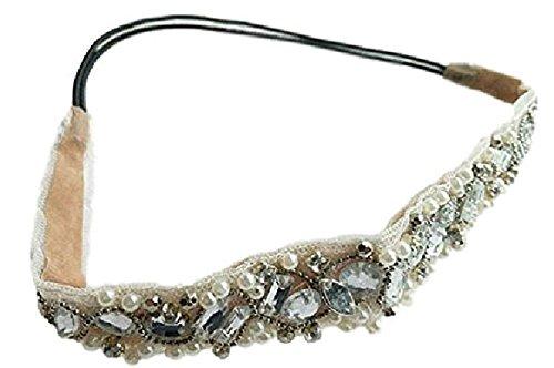 Cinta para el pelo para mujer para peinarla Royal blanco accesorios Glam cintas para el pelo con cristales de goma de la cinta para el pelo decoración de goma elástico muy bonitos preciosos bien!