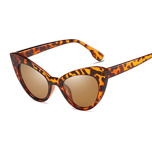 YOULIER Gafas de sol de ojo de gato para mujer, estilo vintage, marco grueso, retro, gafas de sol, moda femenina, leopardo