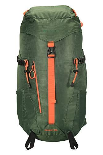 Mountain Warehouse Phoenix Extreme Rucksack - 35 Liter - Rucksack mit Brustgurt, Regenabdeckung, Reisetasche mit Wasserbeutel - Für Outdoor, Wandern, Fitness, Frühling Grün Einheitsgröße