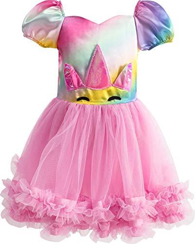 IKALI Einhorn Kleid für Mädchen Regenbogen Kinder Halloween Kostüm Tutu Rock Pink Fancy Outfit
