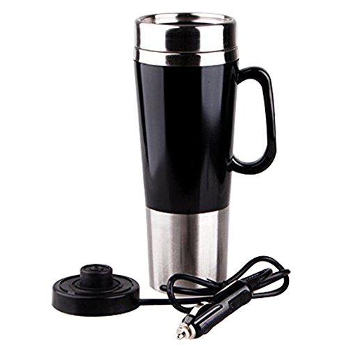 400ml Vacuum Insulated Stainless Steel Travel Mug Car Cup with Charger Car Boiling Mug Electric Kettle Boiling Vehicle Thermos with DC12V Heating Cup