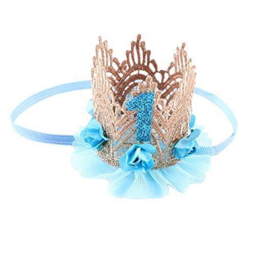 K-youth® Moda Diademas Bebé Niña Princesa Fiesta Elasticas Banda de pelo Corona Flores de encaje Cintas Para El Pelo Niñas Accesorios Para El Cabello Diademas Bebe Bautizo Cumpleaños (Azul)
