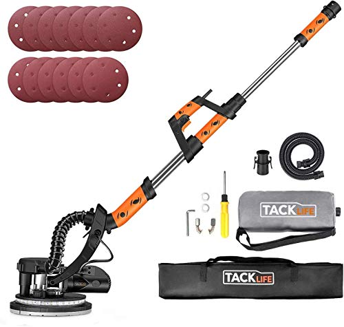 Drywall Sander, TACKLIFE 800W Electric Sander with 13 Pcs Sanding discs and Vacuum Cleaner Adapter, 6 Variable Speed & LED Light, Extendable Handle, Long Dust Hose and Collector, Storage Bag