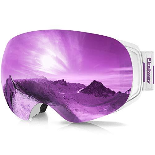 findway Maschera Sci, Occhiali da Sci Magnetica Donna Uomo, Maschera per Snowboard e Sci per Occhiali da Vista OTG,Viola Lente Polarizzata Specchio