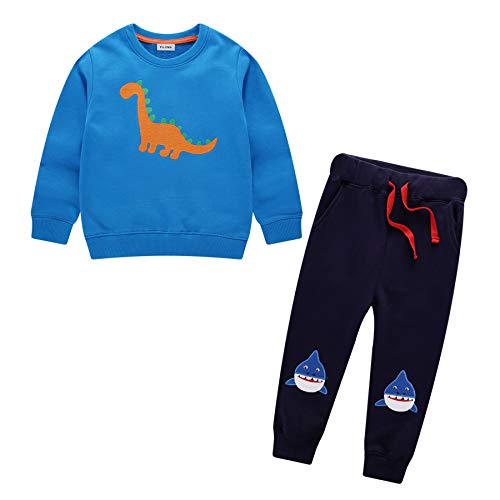 Tuta Bambini Bambino Sportiva Cotone Autunno Inverno Blu Dinosauro Animali Stampa Scuola Maglieria Felpe Pantaloni Set Jogging Unisex Ragazzi Ragazze Abbigliamento 2 3 4 5 6 7 Anni