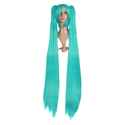 MapofBeauty 2 Ponytails Straight Long Party Costume 120cm Cosplay Wig (Light Blue)