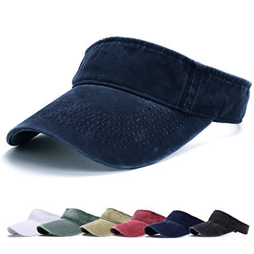 BLURBE Unisex Visera- Visor Gorras, 1/2 Gorra Deportiva Protección UV Viseras Sombreros para el Sol de Deportes al Aire Libre Golf Tenis Correr para Correr (ArmadaA)