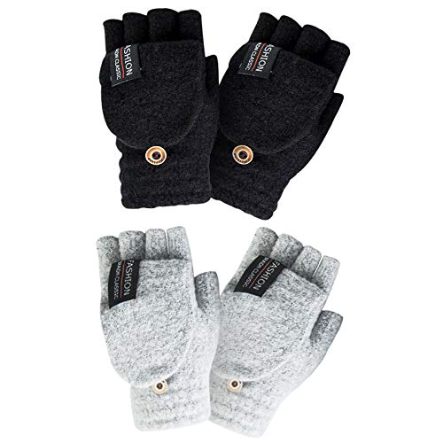 YSense Women's Winter Gloves, 2 Pack Warm Wool Knitted Convertible Fingerless Gloves for Women Gifts with Mittens Cover Cap