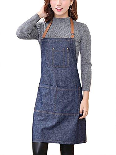 Aivtalk Kochbegeisterte Frauen Schürze Baumwolle Denim Kochschürze Küchenschürze Grillschürze Latzschürze Ärmellose Damen Schürze mit Taschen 71 * 65cm Denim Blau