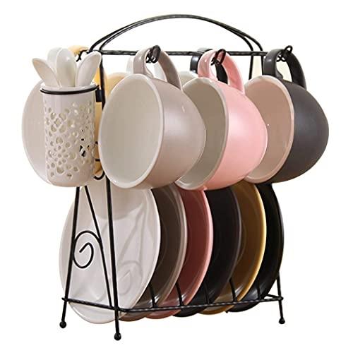FGDSA Tea Set Creative Ceramic Coffee Cup Dish Home Tea Set English Afternoon Tea Cup 220ML Set Tea Gift Sets (Color : Pink)