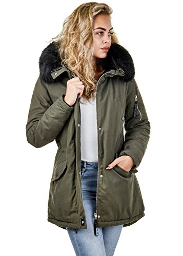 Sixth June Damen Parka Winter Herbst Jacke Fell Kapuze Gefüttert Unifarben W2010, Größe:S, Farbe:Khaki/Schwarz