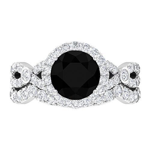 Conjunto de anillos solitario, anillo potenciador de boda, anillo de compromiso halo 14K Oro blanco