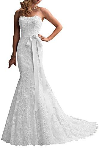 Baixia Meerjungfrau Trompete Brautkleid Spitze Hochzeitskleid Weiß 38