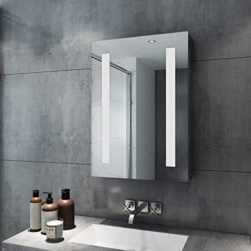 SIRHONA Armoire de Toilette Miroir 50 x70 x13 cm Miroir de Salle de Bains avec Éclairage avec Étagères à Hauteur Réglable  3 Niveaux Armoire Toilette