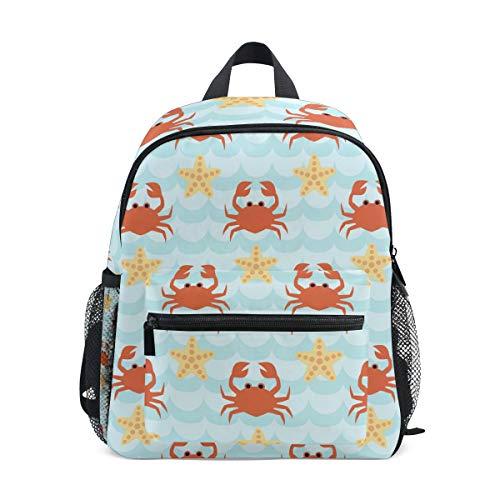 Mochila Escolar Preescolar con diseño de cangrejos y Estrellas de mar para guardería, Mochila Ligera para niñas y niños de 3 a 5 años con Hebilla de Correa para el Pecho y Silbato
