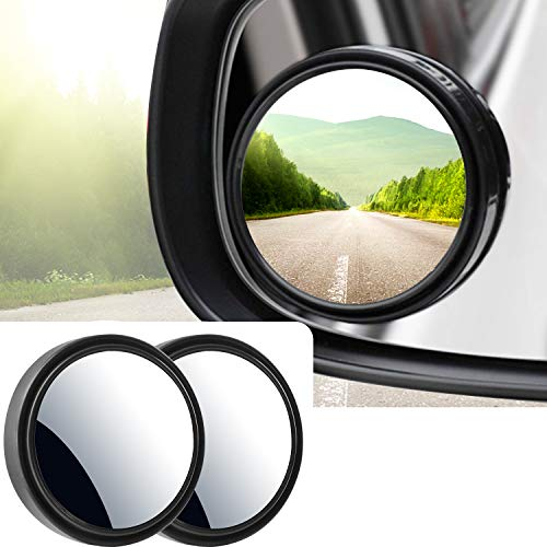 """Blind Spot Mirror, 2"""" Round HD Glass Mirrors Frame Convex Rear View Mirror with Wide Angle Adjustable Stick for Motorcycle ATV Car SUV and Trucks, Pack of 2"""