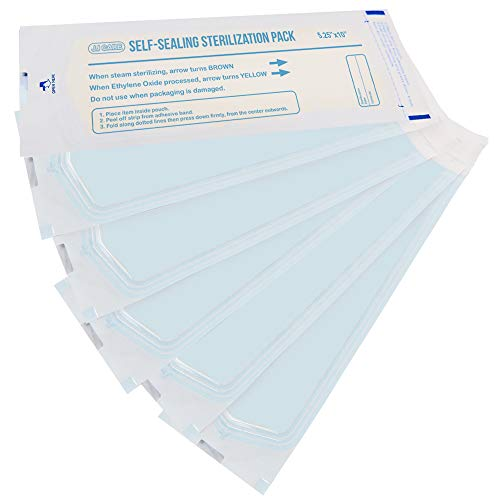 """[Pack of 250] Autoclave Sterilization Pouches 5.25"""" x 10"""" Self-Sealing Dental Sterilization Pouches, Autoclave Sterilizer Bags for Tattoo Salon Supplies, Medical Sterilization Pouches"""