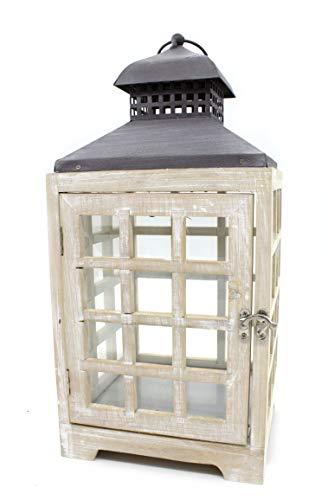 DARO DEKO Holz Laterne mit Echt-Glas Scheiben 20cm x 20cm x 42cm