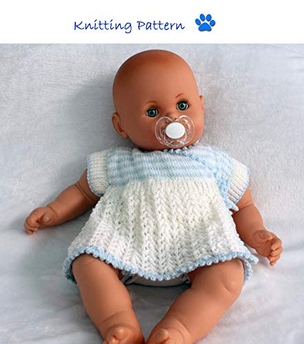 Crossover Style Dress with side ties Knitting Pattern (no. 88) to fit 0-3 month old baby or 18-22 inch doll (English Edition)