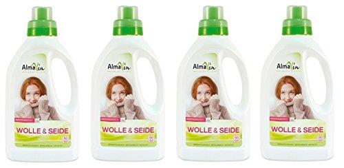 AlmaWin Wolle & Seide, Natürliche Sauberkeit für 50 Waschgänge, 4 x 0,75l