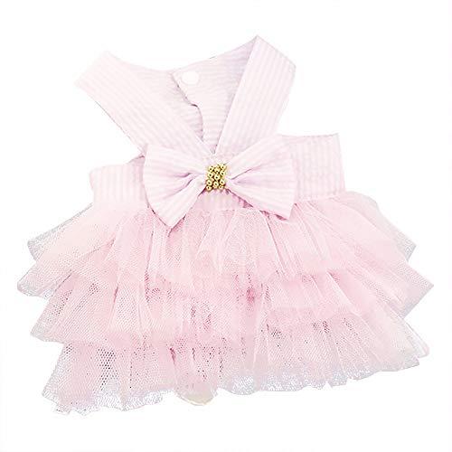 YWLINK Prinzessin Kleider Vokuhila Sommer Party Abendkleid Hochzeit Elegant Sling Kleid Streifen Spitzen Patchwork Kleid Hundekleid Bogen Tutu(Rosa,XL)