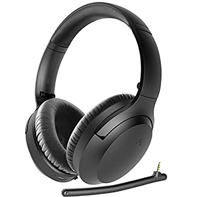 Avantree Aria Bluetooth 5.0 Active Noise Cancelling Headphones Headset for Music & Calls, Detachable Boom Microphone, 35H, Over Ear Wireless & Wired 2-in-1 for Phone PC Computer by Avantree