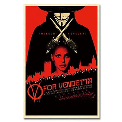 CAPTIVATE HEART Impresión en lienzo 50 x 70 cm, sin marco, póster de película V como Vendetta, impresión decorativa de pared, cuadro vintage