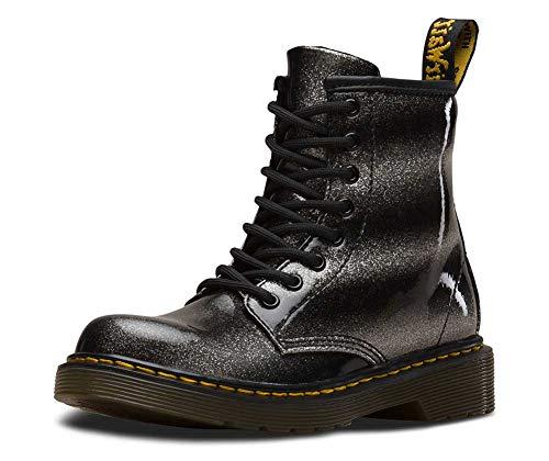 Dr.Martens Kids 1460 Ombre Glitter Glitter Patent Synthetic Black Silver Stiefel 28 EU