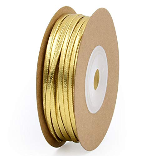 BNMY Cinta Satén Pulsera De Cuerda De Cuero Dorado Y Plateado, Collar, Accesorios De Joyería, Creatividad En El Hogar, Trenza De Cuerda De Mano,Oro,2mm*15m