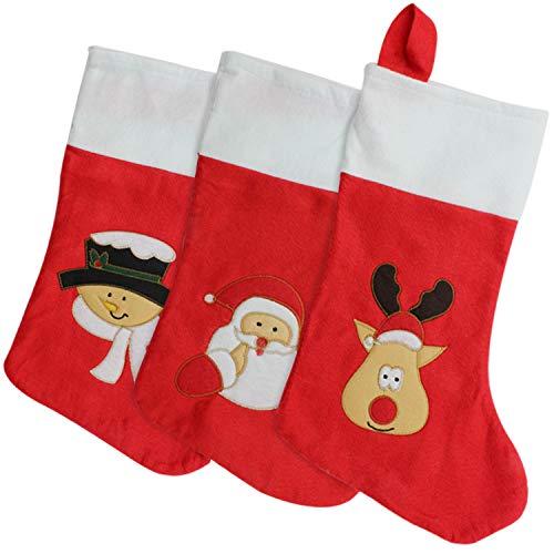 com-four® 3er Set Premium XXL Weihnachtsstiefel mit verschiedenen Motiven - Nikolausstrumpf zum Befüllen - Weihnachtssocken zum Aufhängen - 42 x 19 cm