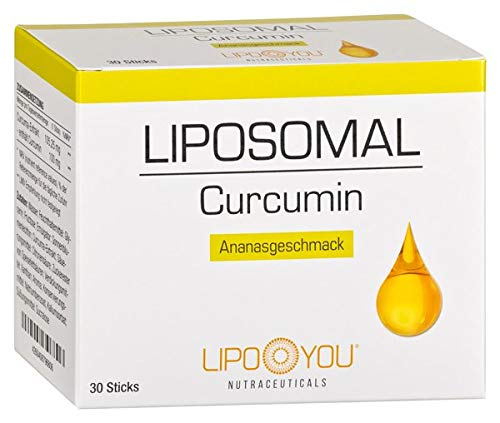 LIPOSOMAL Curcumin, Flüssig-Sticks mit Curcuma-Extrakt, 95% Curcumin-Gehalt, zur Entzündungshemmung, auch zur Unterstützung der Knochen, Gelenke und Lunge, mit Ananas Geschmack