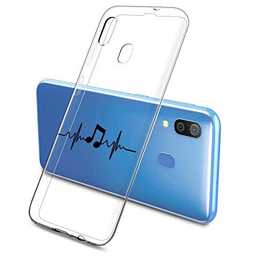 Suhctup Compatible con Samsung Galaxy A32 5G Funda Silicona Transparente con Dibujos Lindo Cárcasa Ultrafina Suave Gel TPU con Animados Diseño Patrón Antigolpes Proteccion Cover,Nota Musical