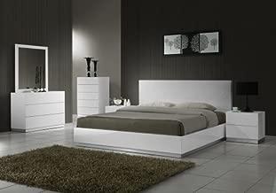 J&M Furniture Naples Modern White Lacquered Bedroom set- King Size