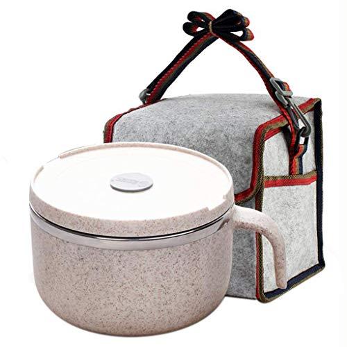 HIGHKAS Lunch Box Rice Bowl Bruchsichere Suppenschüssel Edelstahlschale Doppelschaumschale Artefakt mit Deckel Student Normle Bowl
