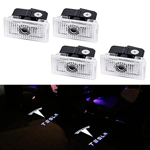 Proyección de Coche Proyector LED para Tesla Model 3/Y/S/X, 4 Unids Coche Logo Proyección Proyector LED Puerta fantasma Shadow Light Bienvenido Lámpara de Luz